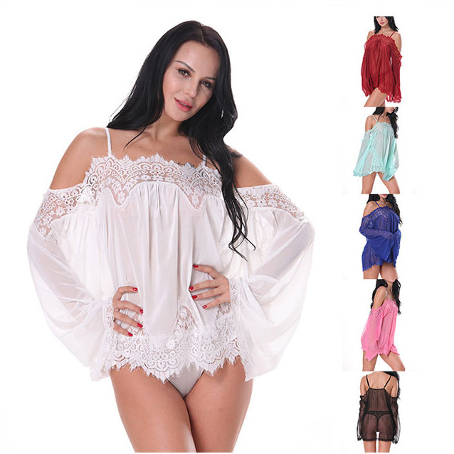 Sexy Women's Mesh See Through Lace Loose Long Sleeves Sleepwear Camisole Dress Lingerie