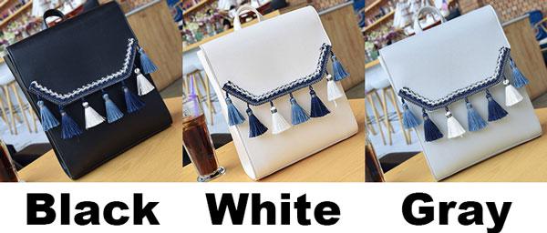 Fresh Girl's Square PU Embroidery Tassels Flap Folk Style School Backpack
