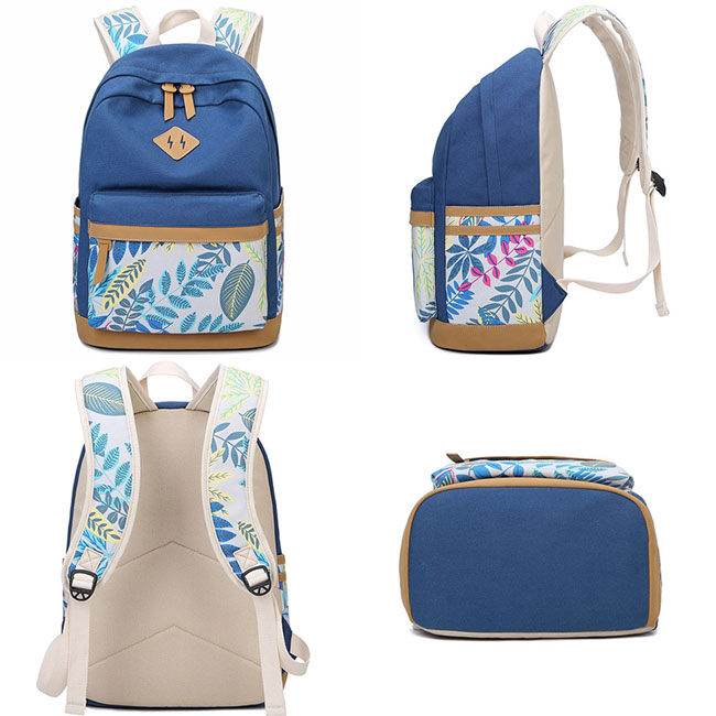 Fresh Leaves Patterns Printing Designed College Bag Leisure Travel Canvas School Backpack
