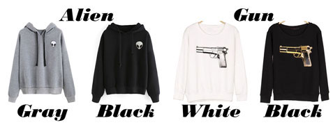 Simple Elien Gun Printing Hoodie Pullover Long Sleeves Women Sweater