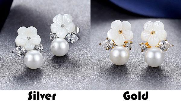 Sweet Diamond-bordered Flower Pearl Silver Women Fashion Ocean Style Earring Studs