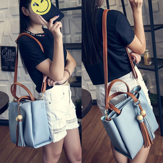 Retro Girl's PU Color Blocking Tassels Pendants Simple Shoulder Bag Handbag