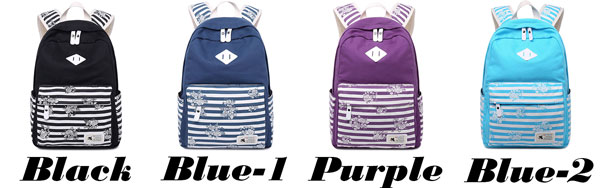 Fresh Large Travel Striped Canvas School Backpack Retro Stripes Flowers Student Backpack