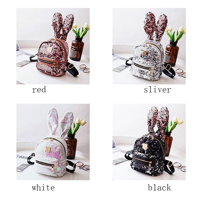 Cute Rabbit Ear Mini Animal Bag Shining Sequins Colorful Girl's Backpack