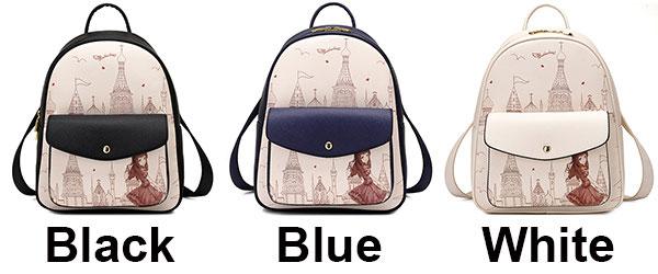 Sweet Girl's PU Cartoon Church Tower Girl Printing School Backpack Travel Backpack