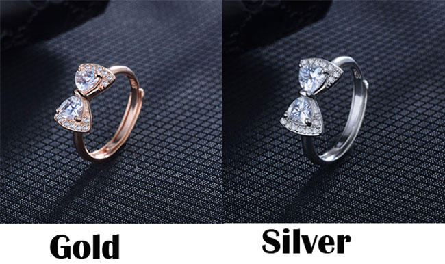 Fashion Bow Ring Temperament Diamond Adjustable Ring