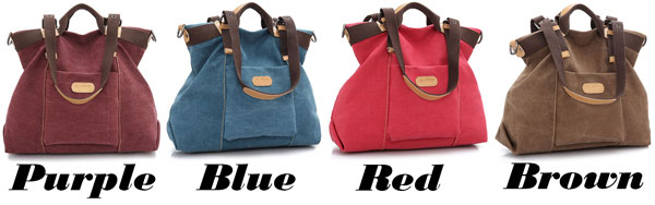 Retro Girl's Multi-function Large Capacity Saddle Bag Shoulder Bag Canvas Handbag