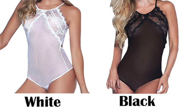 Sexy Chemise See Through Lace Stitching Underwear Backless Women's Lingerie
