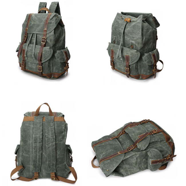 Vintage Washing Colors Waterproof Canvas Splicing Leather Belt Drawstring Flap Large Travel Backpack