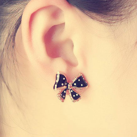 Fashion Dot Lace Trim Bow Earrings