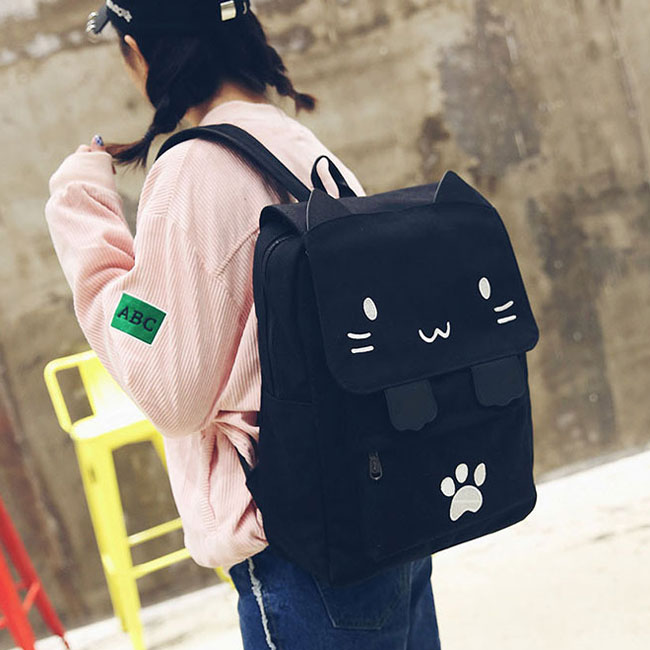 Cute Stereo Embroidery Cartoon Cat Square Large Animal Kitten Canvas Girl's School Backpack