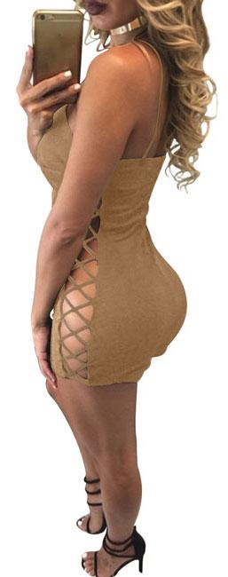 Sexy Women's Side Hollowed-out Backless V-neck Braces Short Pants Jumpsuit Romper