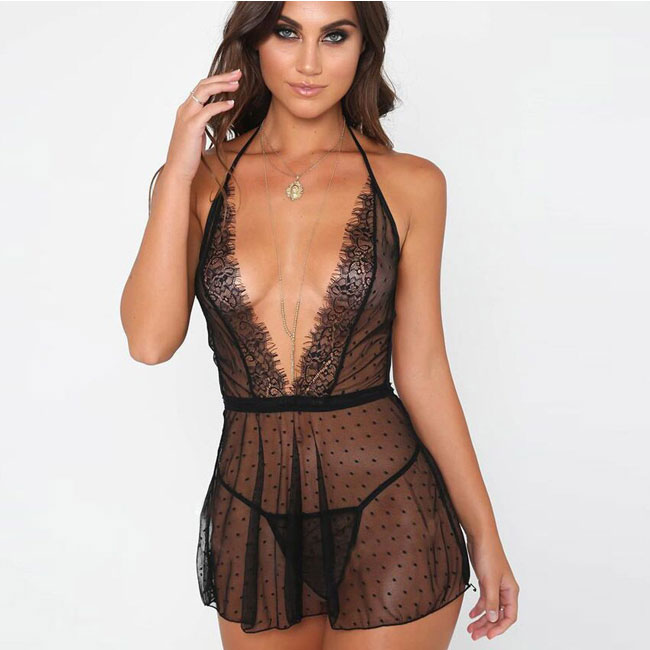 Sexy Lace Perspective Mesh Dot V Sling Nightdress Women Lingerie