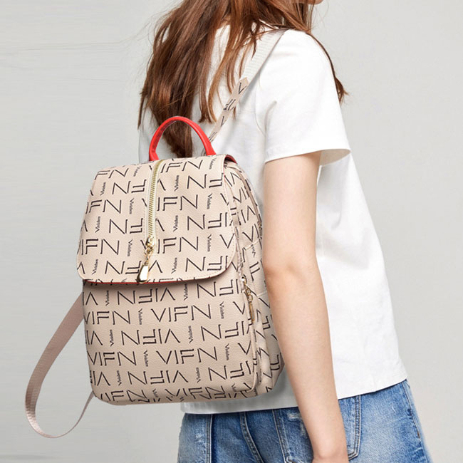 Retro Printing School Bag Vertical Zipper PU Large Women Student Backpack