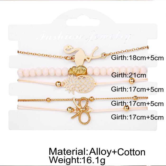 Unique Flamingo Pineapple Bow Elephant Bead Bracelet Five Piece Set Bracelet
