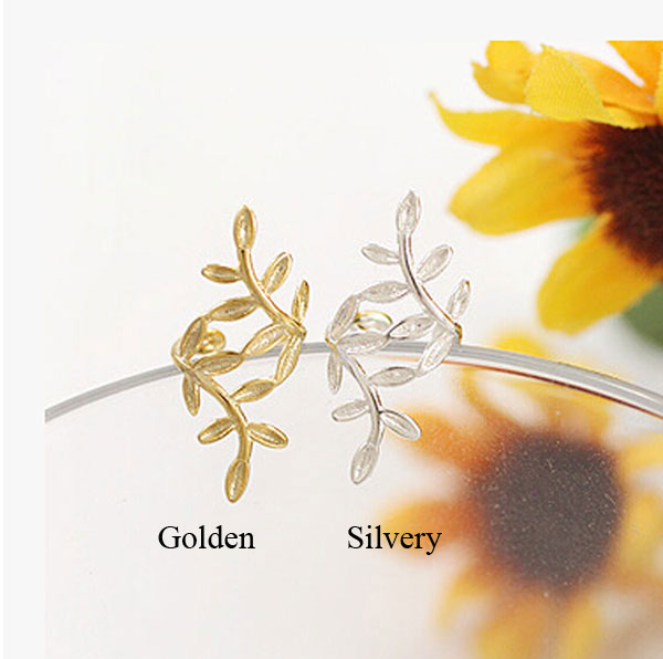 Cute Leaves Silver U No Pierced Ear Clip Earring