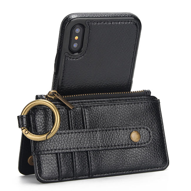 Creative Multi-function Ring Leather Phone Purse Wallet Split Iphone Cases