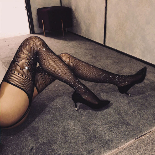 Sexy Fishnet Garter Pantyhose Lingerie  Hot Drilling  Female Stockings