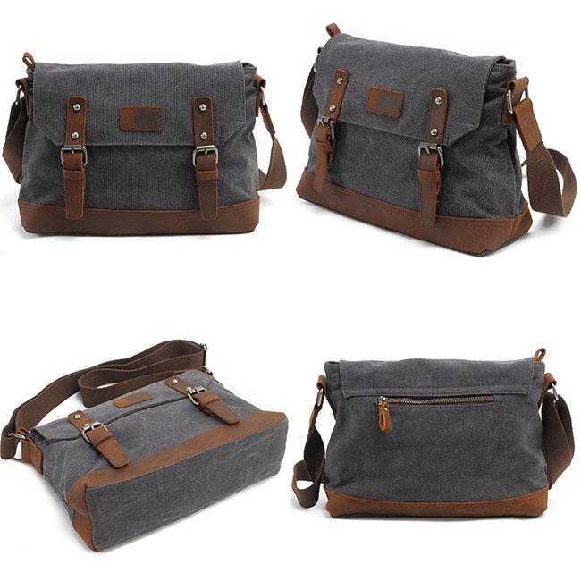 Fashion Splicing Leather Belt Handbag Retro Flap Handbag Thick Canvas Shoulder Bag