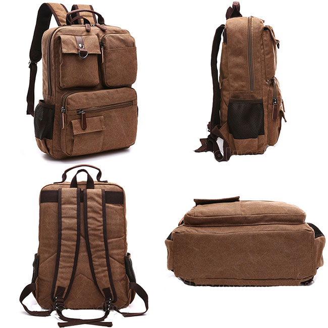 Vintage Brown Large Capacity Multi-pocketed Outdoor Travel Backpack School Canvas Laptop Backpack