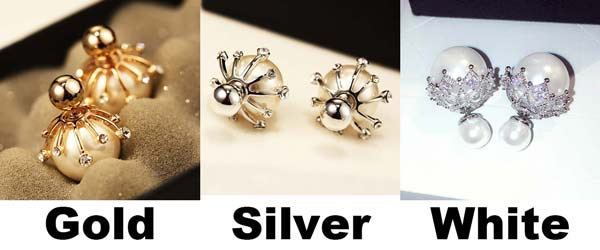 Fashion Frosted Pearl Bulb Diamond-bordered Silver Women Earring Studs