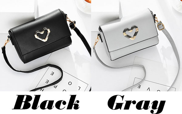 Elegant PU Metal Love Heart Flap Square Lady Shoulder Bag