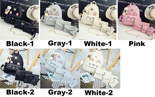 Cute Girl's PU Embroidery Rabbit Face Backpack Stereo Rabbit Ears Cartoon Animal School Backpack