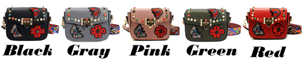 Retro PU Butterfly Flowers Embroidery Rivets Flap Small Lady Shoulder Bag