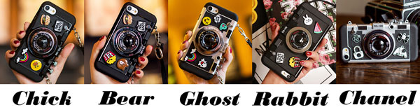 Cool Cartoon Camera Shape Stereo Rabbit Bear Chick Ghost Chanel Phone Case Iphone 6/6 plus/6s/6s plus/7/7 plus/8/8 plus/X Case
