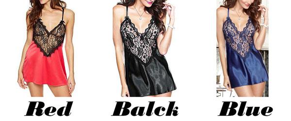 Sexy Women's V-neck See Through Lace Splicing Silk Backless Dress Slip Dress Underwear Baby Doll Sleepwear Lingerie