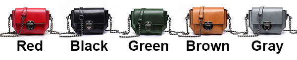 Retro Waxy Feel PU Metallic Lock Chain Flap Mini Leisure Shoulder Bag
