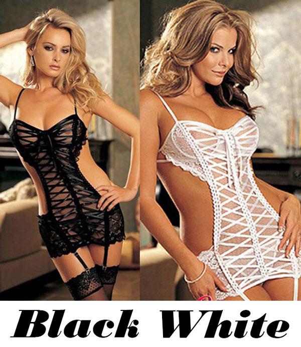 Sexy Women's See Through Cross-strap Backless Lingerie Dress Slip Dress Underwear Baby Doll Sleepwear