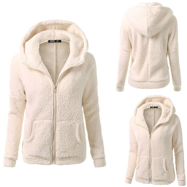 Pure Color Pullover Warm Hooded Sweatshirt Winter Lambswool Zipper Outwear Hoodies Fluff Coat