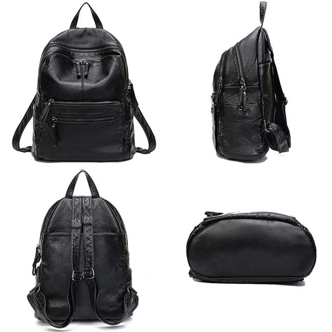 Retro Lichee Waterproof School Bag College Double Zipper Black PU Travel Backpack