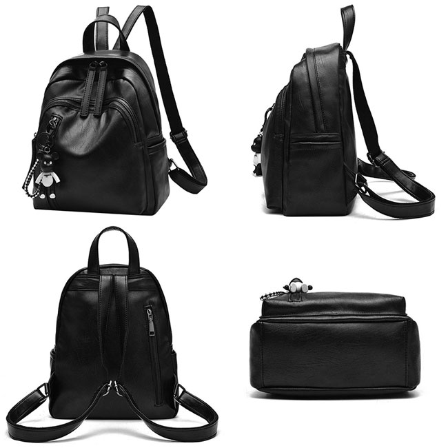 Leisure Girl's Waterproof PU Black Bucket Bag Double Zipper School Backpack Leather Travel Backpack