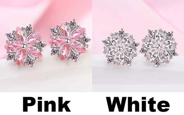 Lovely Diamond-bordered Cherry Sweet Style Dating Silver Student Girl's Zircon Earrings Studs