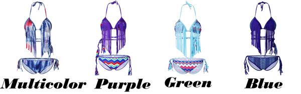 Sexy Women's Tassels Bohemian Style Printing Colorful Bikini Unique Swimsuit
