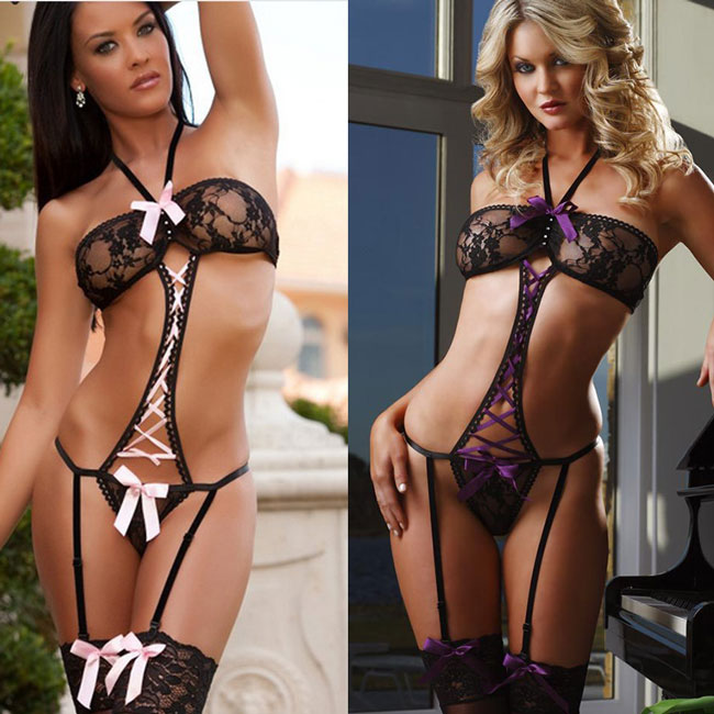 Sexy Women's Lace See Through Crystal Cross Strap Bow Halter Lace Mesh One-piece Backless Sleepwear Lingerie