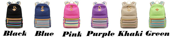 Folk Colorful Stripes Designed Student Bag Leisure Travel Canvas School Backpack