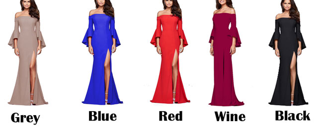Elegant Women's Long A-Line Dresses Sexy Slit Ruffle Sleeve Party Dress