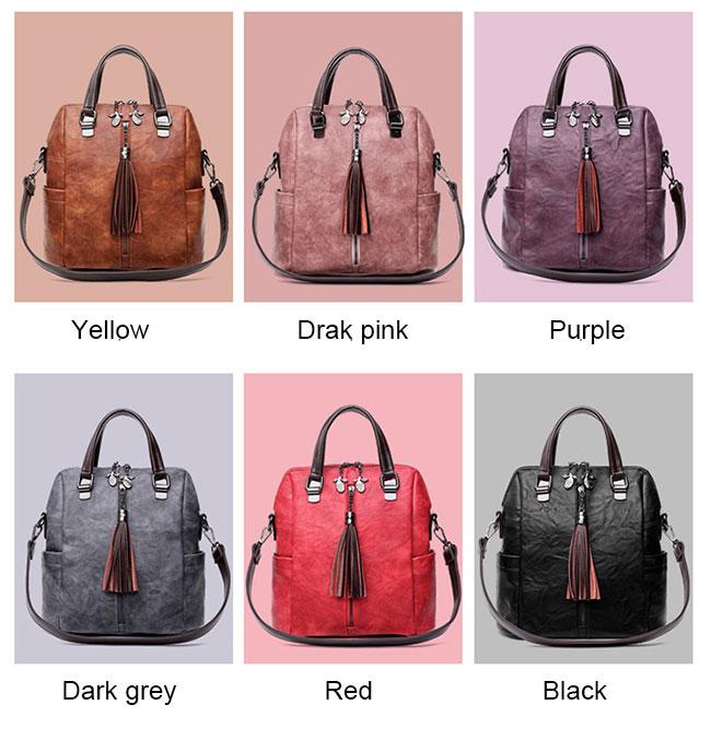 Vintage Leather Multi-function Backpack Tassel Handbag Backpack Women's Shoulder Bag