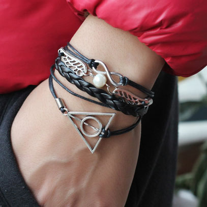 Cute Swings Deathly Hallows Infinity Bracelet