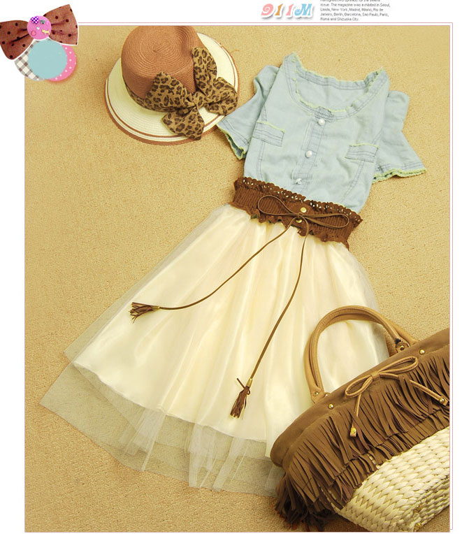 Fashion Nice Vintage Denim Gauze Skirt Dress