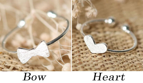 Cute Bow Romantic Love Heart Silver Simple Open Ring