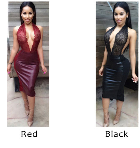 Sexy Halter Siamese Split Backless Women's Embroidered Skirt PU Lace Dress