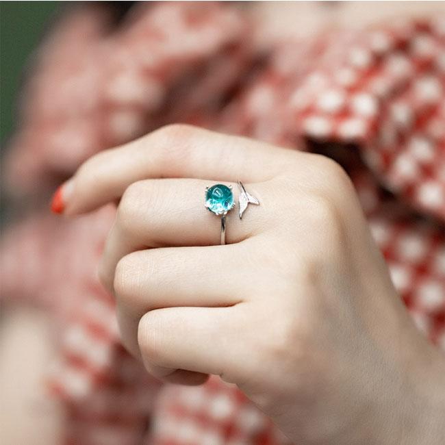 Fashion Mermaid Tail Lover Gift Opal Open Silver Women Ring