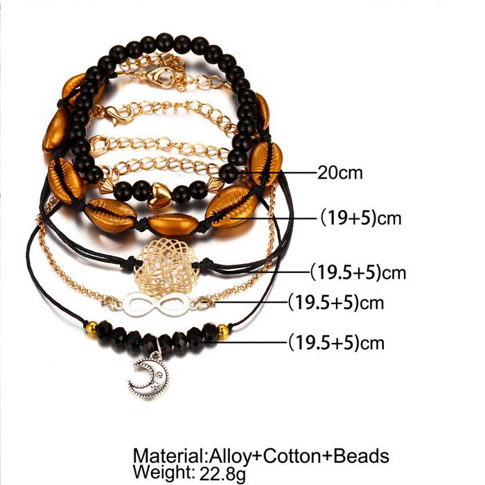 Unique Heart Lucky Number 8 Moon Hollow Carved Shell Love Pendant Five-piece Set Bracelet