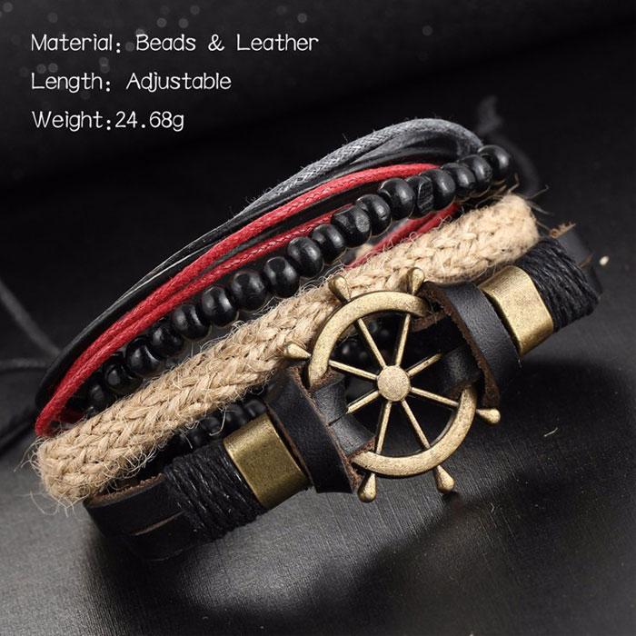 Punk Leather Bracelet Hand Woven Multi-layer Vintage Rudder Bangle Bead Bracelet