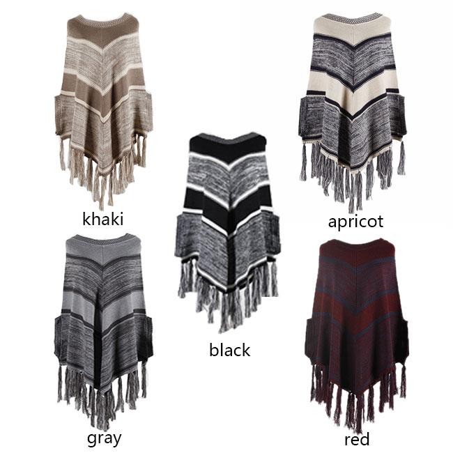 Leisure Autumn Cloak Shawl Tassel Geometry Round Collar Pullover Women Sweater