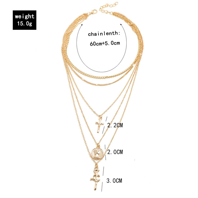 Fashion Personalized Simple Cross Rose Coin Multi-layer Women Necklace